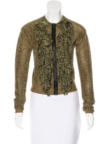 Lanvin Ruffle-Accented Metallic Cardigan None