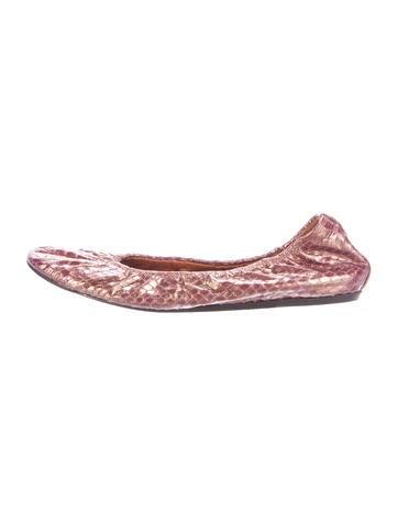 Metallic Snakeskin Ballet Flats
