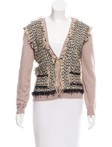 Lanvin Tweed-Panel Linen Cardigan None