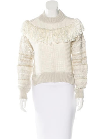 Lanvin Wool Fringe-Trimmed Sweater None