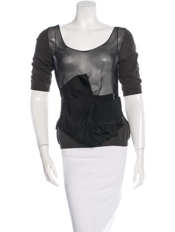 Lanvin Bow-Accented Knit Top None