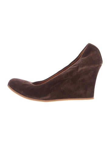Lanvin Suede Round-Toe Wedges None