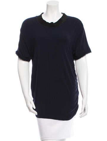 Lanvin Ruched Silk-Trimmed Top None