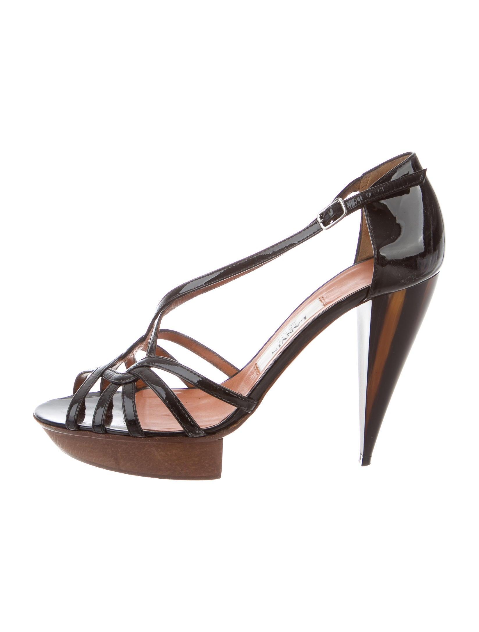 lanvin patent leather platform sandals shoes lan54422