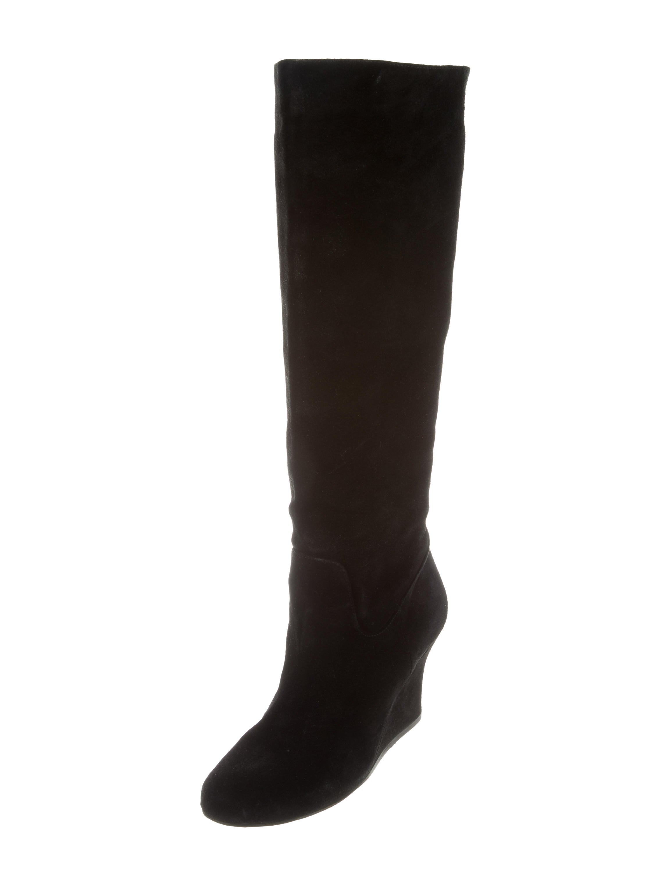 lanvin suede wedge boots shoes lan55203 the realreal