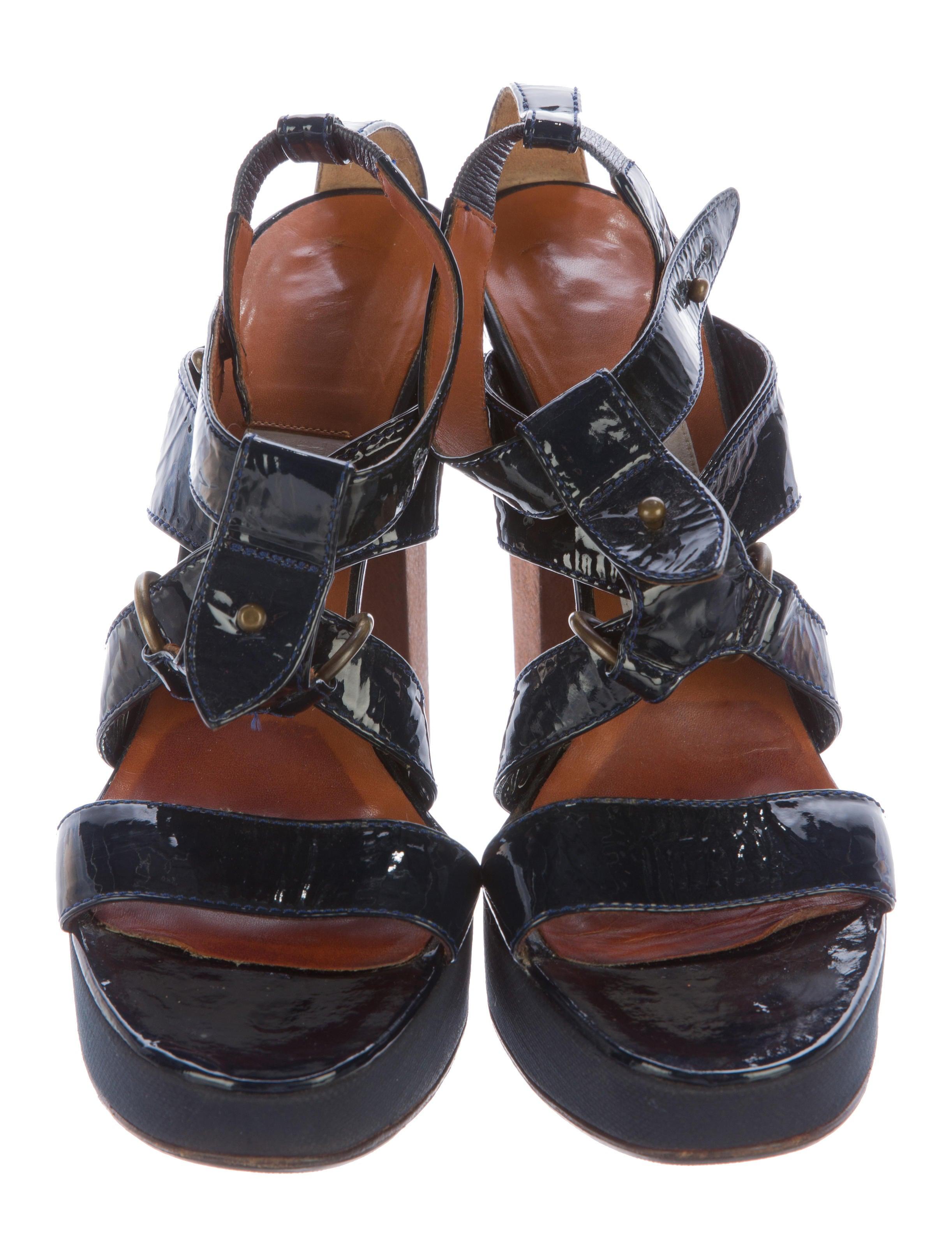lanvin patent leather platform sandals shoes lan55631