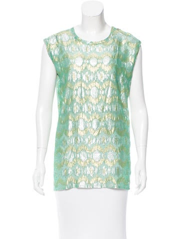 Lanvin Metallic Silk Top None