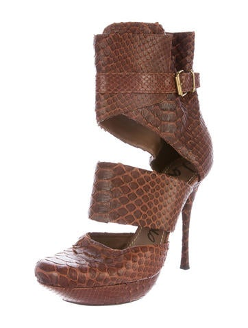 Lanvin Snakeskin Ankle Booties - Shoes
