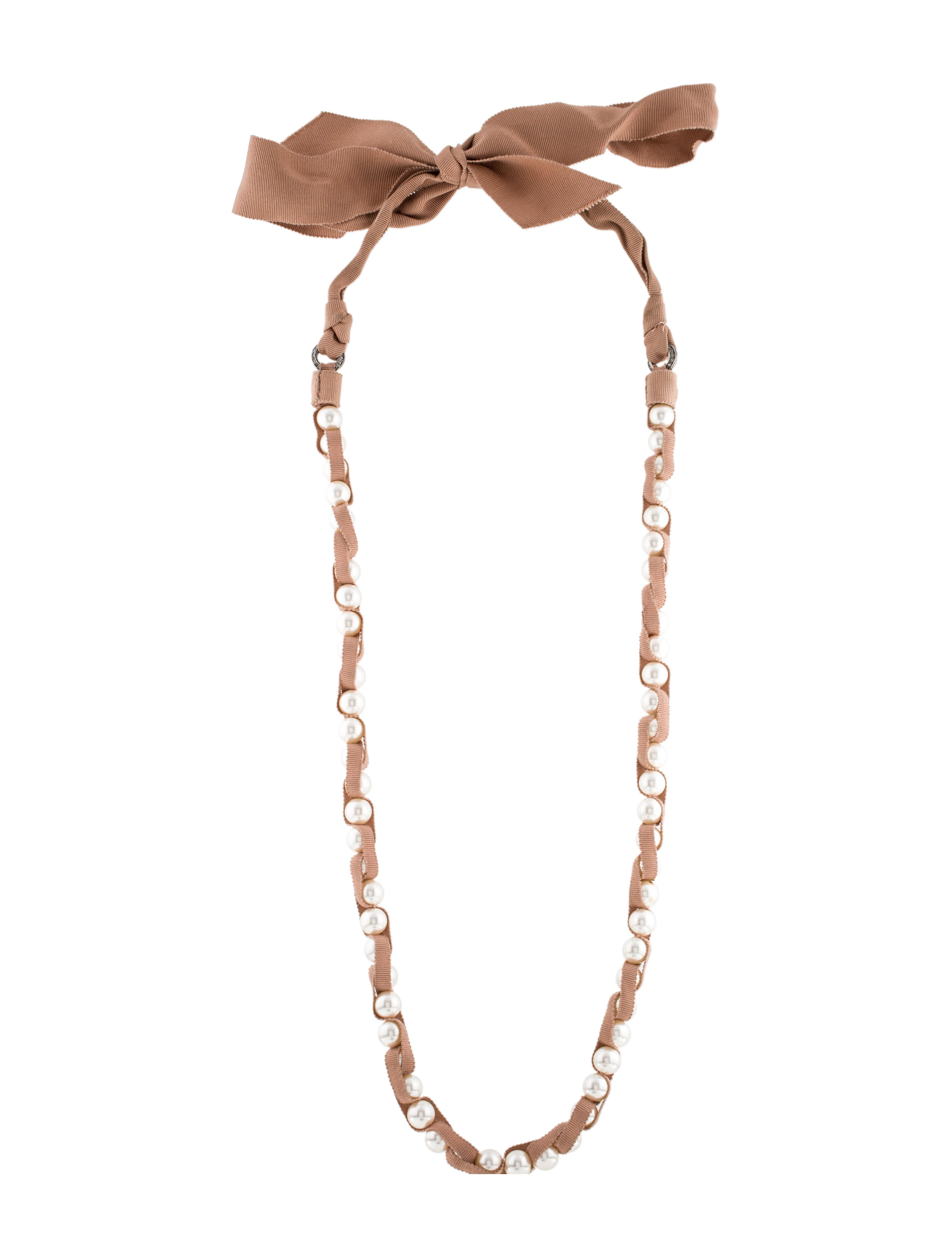 Lanvin faux pearl ribbon necklace necklaces lan57677 for Ribbon tie necklace jewelry