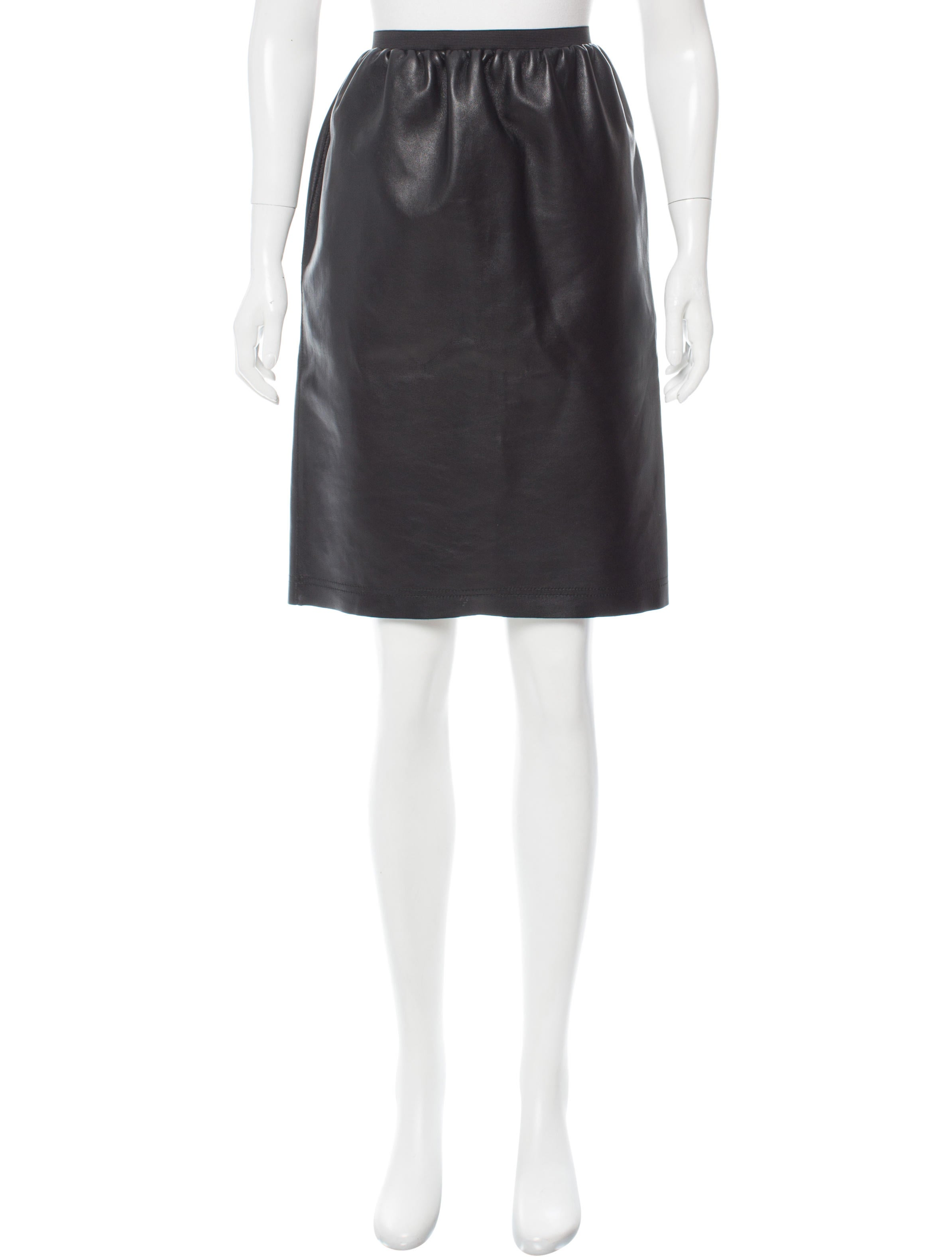 lanvin knee length leather skirt w tags clothing