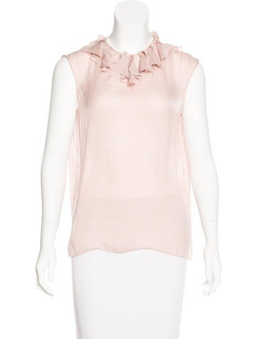Lanvin Distressed Ruffle-Trimmed Top None