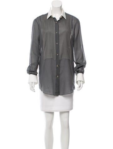 Lanvin Mesh-Trimmed Button-Up Top None