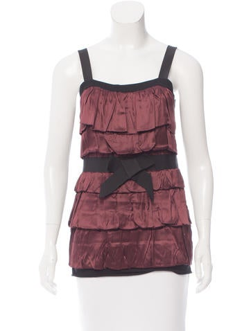 Lanvin Silk-Trimmed Sleeveless Top w/ Tags None