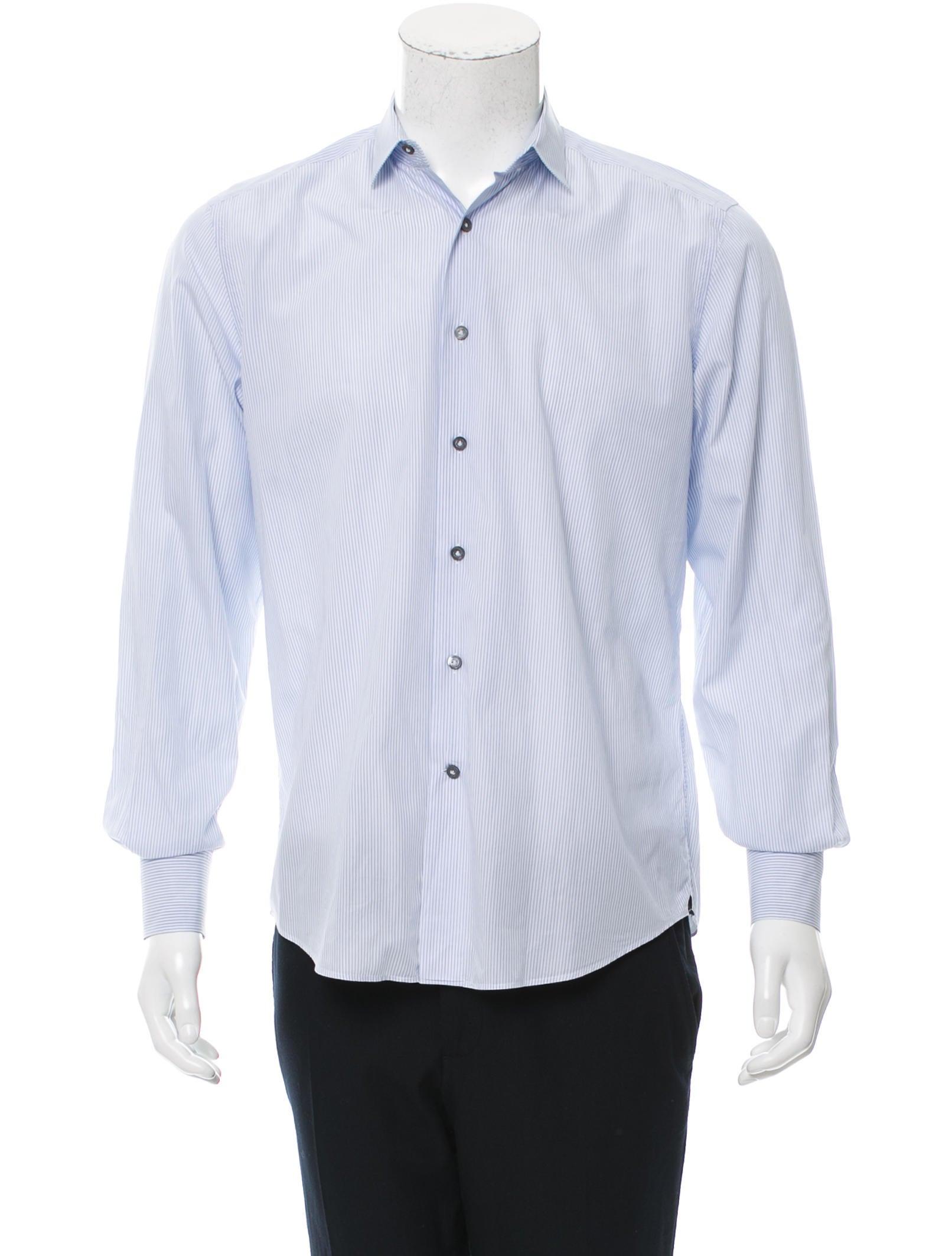 Lanvin striped button up shirt clothing lan59586 the for Striped button up shirt mens