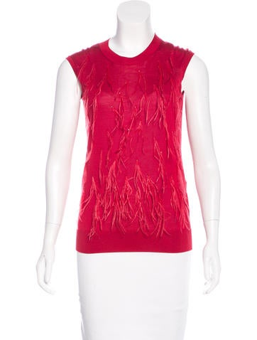 Lanvin Feather-Trimmed Silk Top None