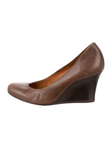 Lanvin Round-Toe Leather Wedges None