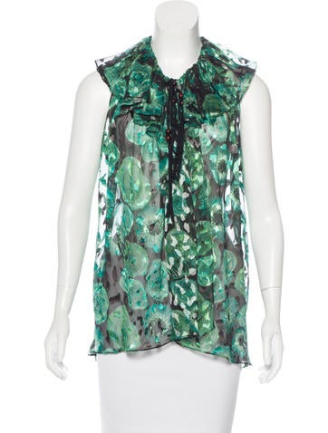 Lanvin Silk Print Top None