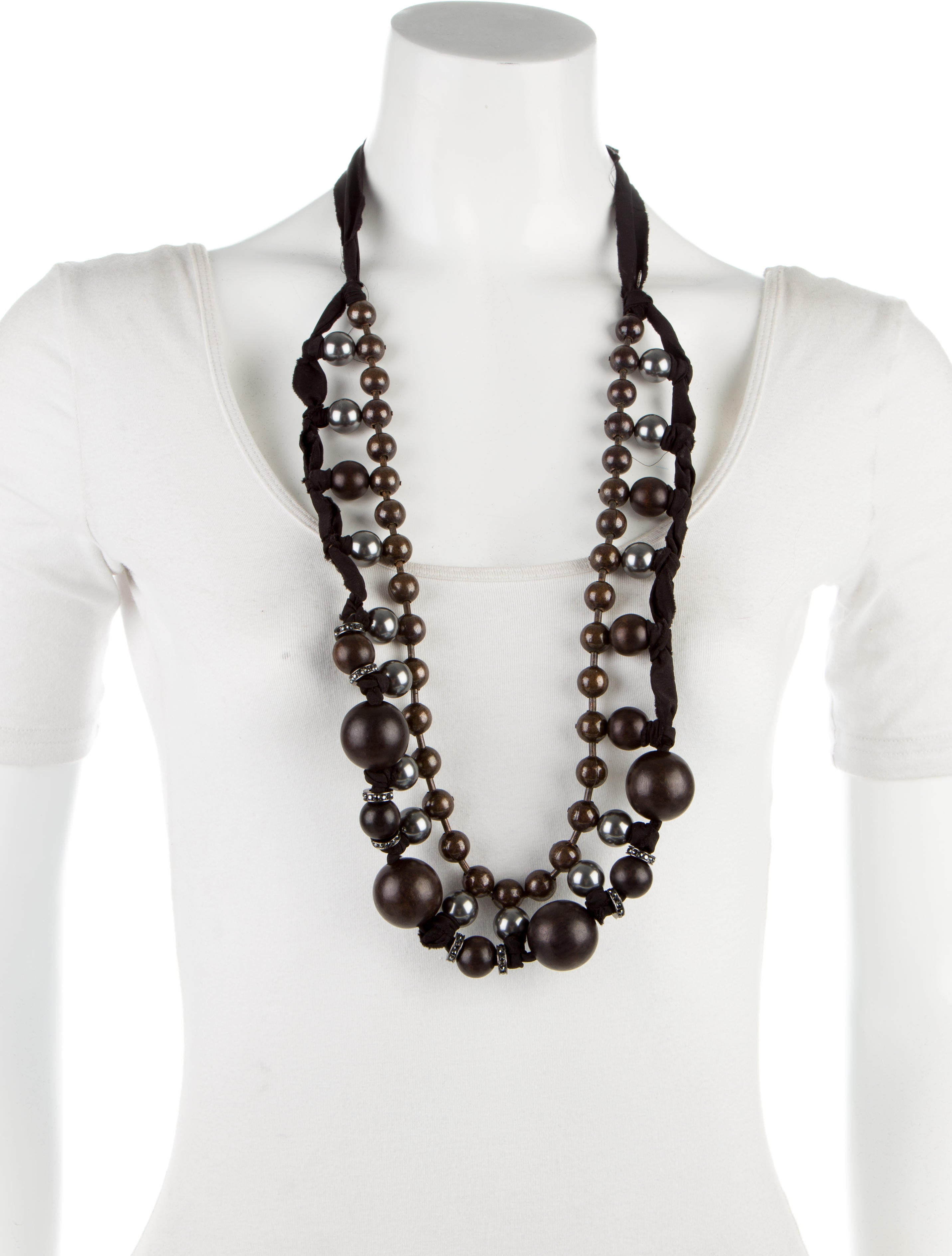 Lanvin ribbon bead strand necklace necklaces for Ribbon tie necklace jewelry