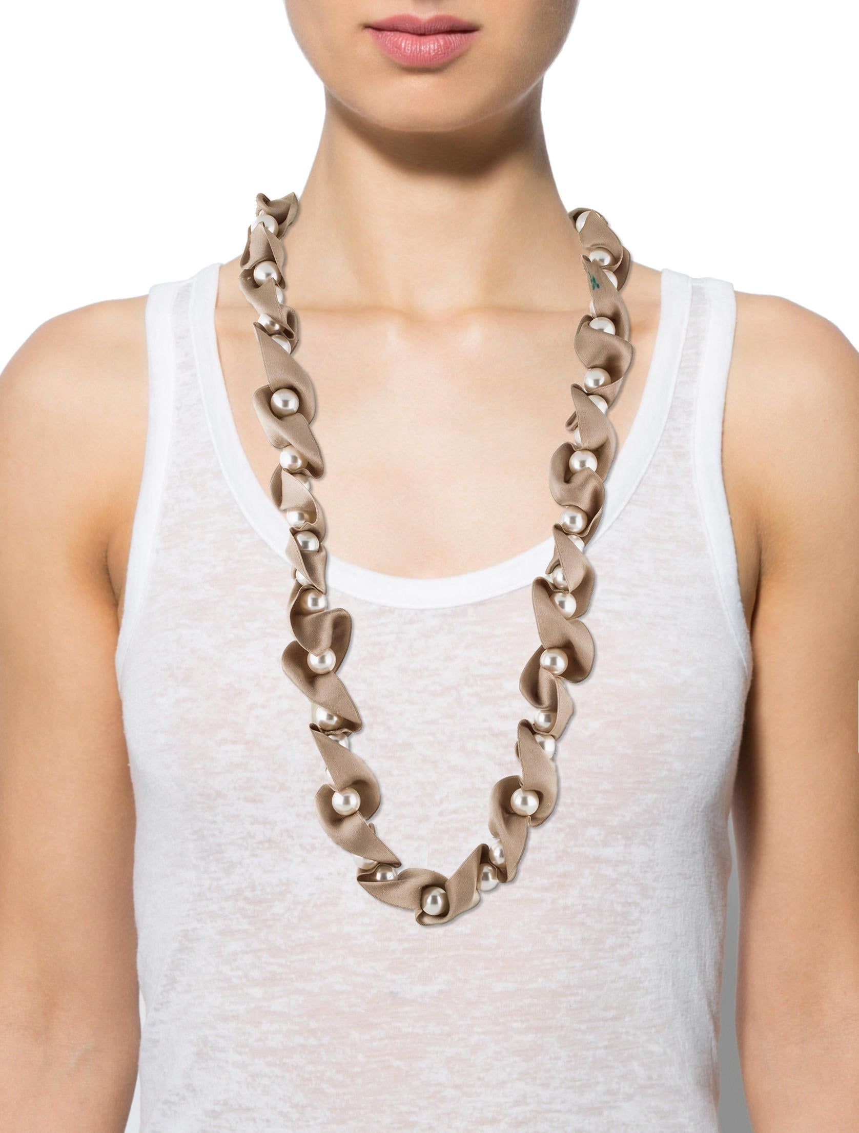 Lanvin faux pearl silk ribbon necklace necklaces for Ribbon tie necklace jewelry