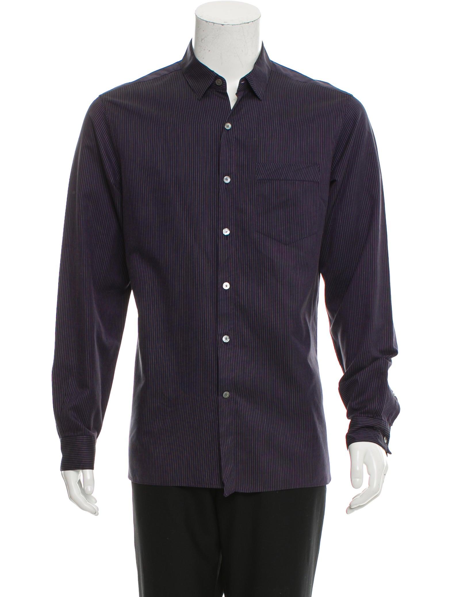 Lanvin striped button up shirt clothing lan61277 the for Striped button up shirt mens