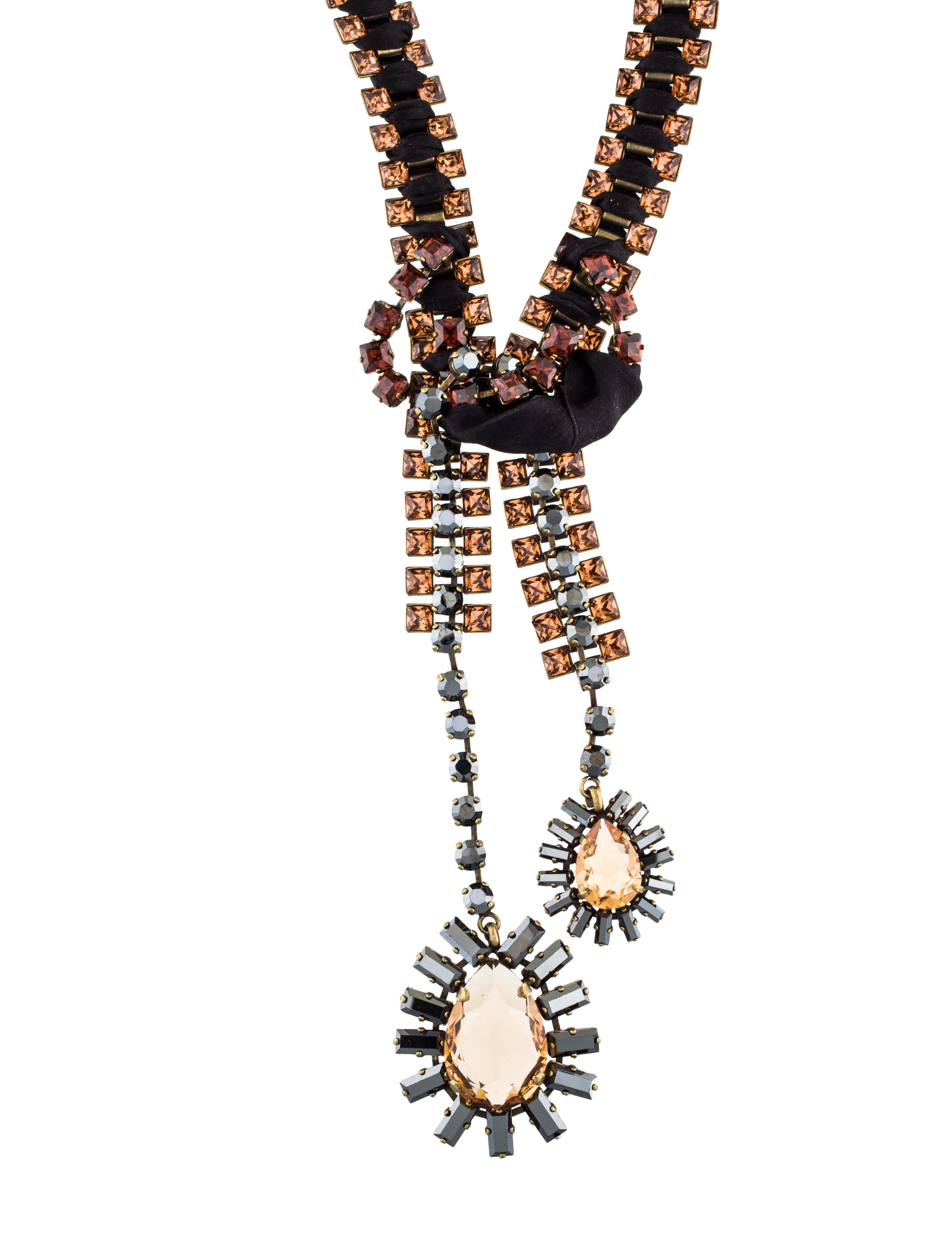 Lanvin crystal ribbon bolo tie necklace necklaces for Ribbon tie necklace jewelry
