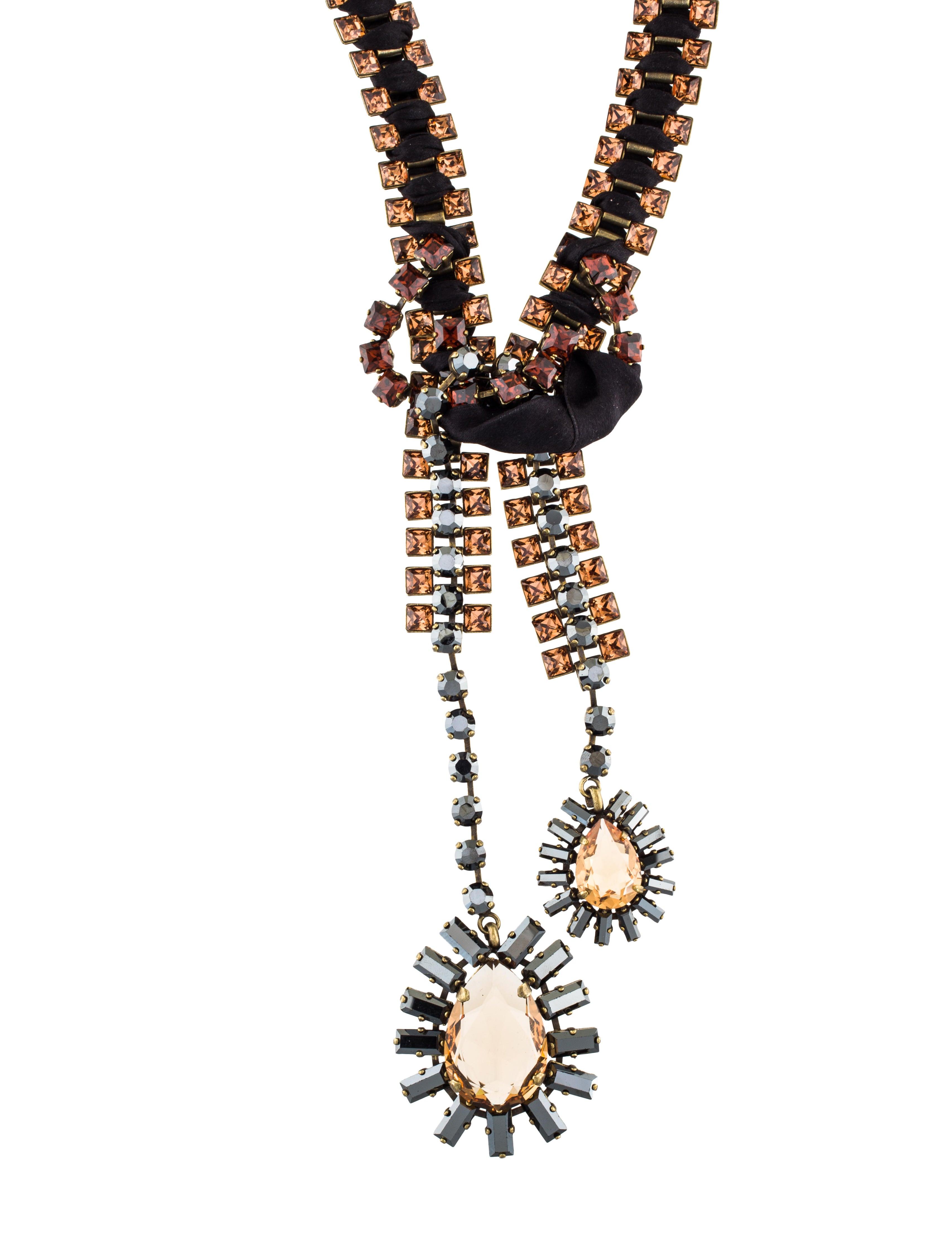 lanvin crystal ribbon bolo tie necklace necklaces