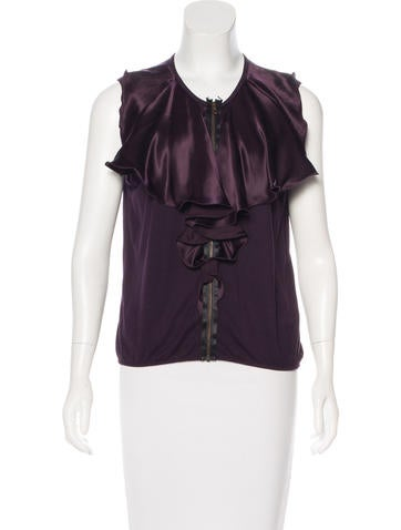 Lanvin Sleeveless Zip-Accented Top None