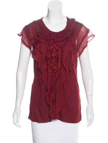 Lanvin Ruffle-Trimmed Knit Top None