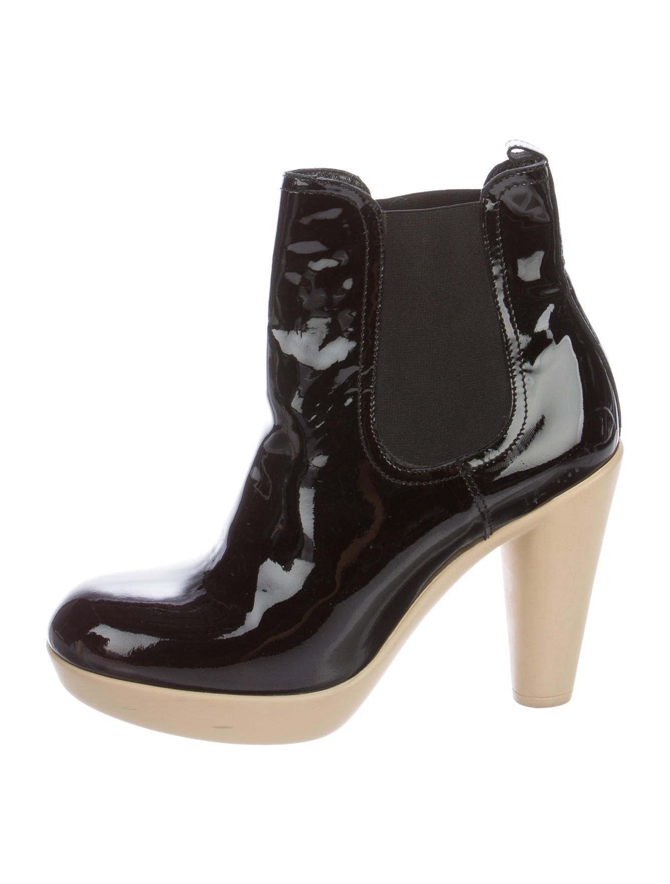 Lanvin Patent Leather Ankle Booties - Shoes