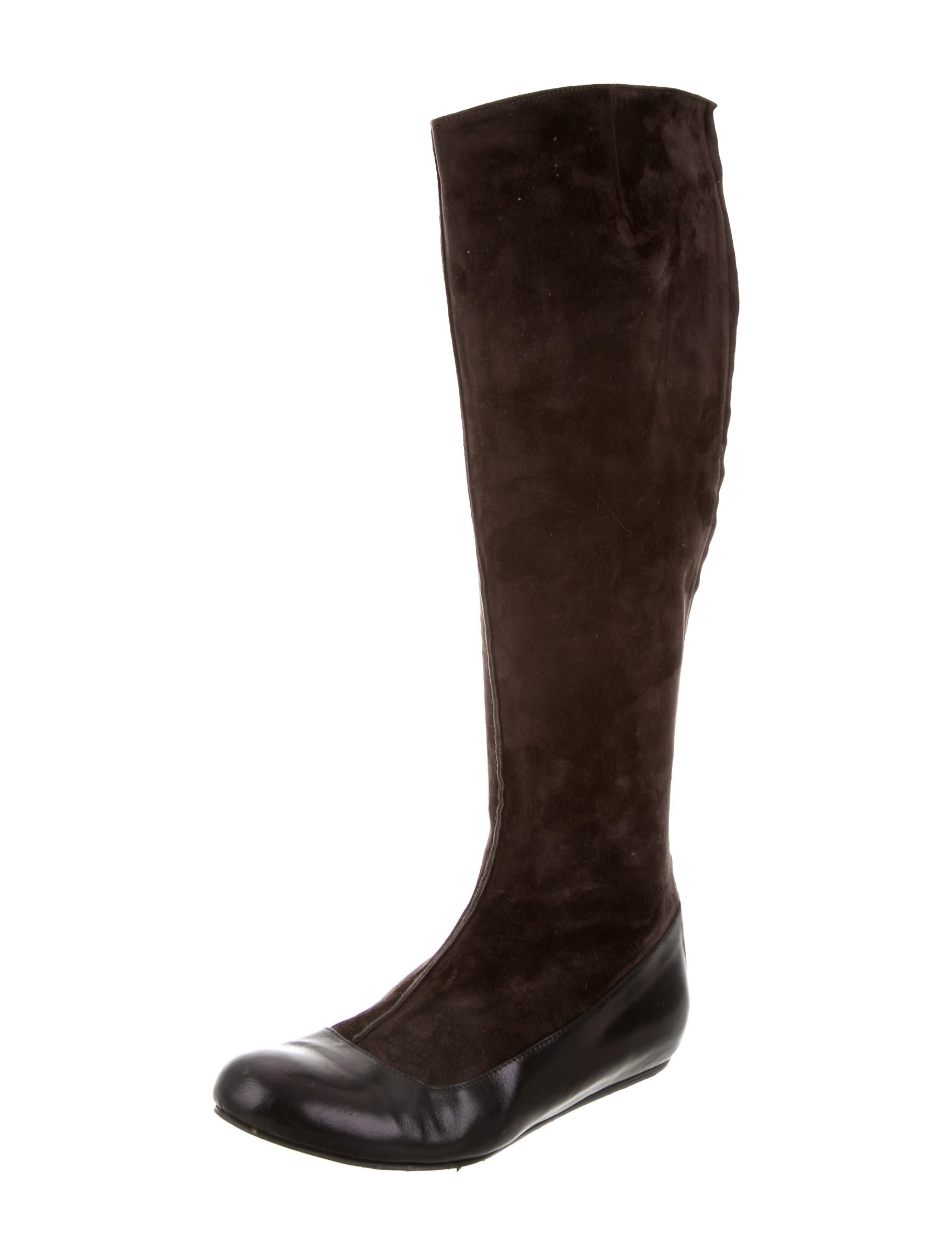 lanvin suede knee high boots shoes lan62113 the realreal
