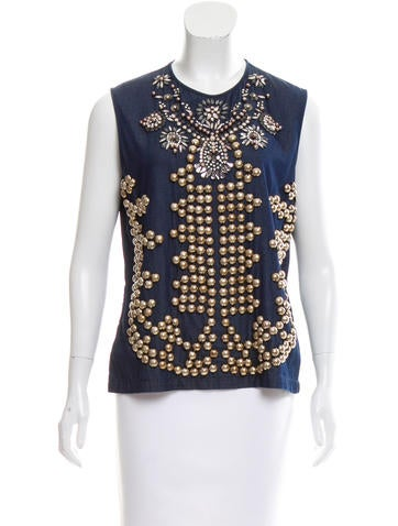 Lanvin Embellished Sleeveless Top w/ Tags None
