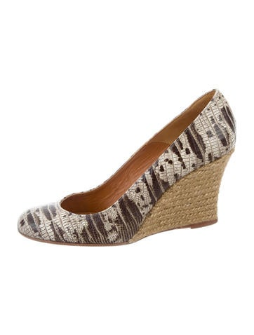 Lanvin Embossed Round-Toe Wedges None