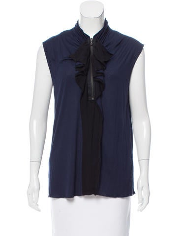 Lanvin Ruffle-Trimmed Sleeveless Top None