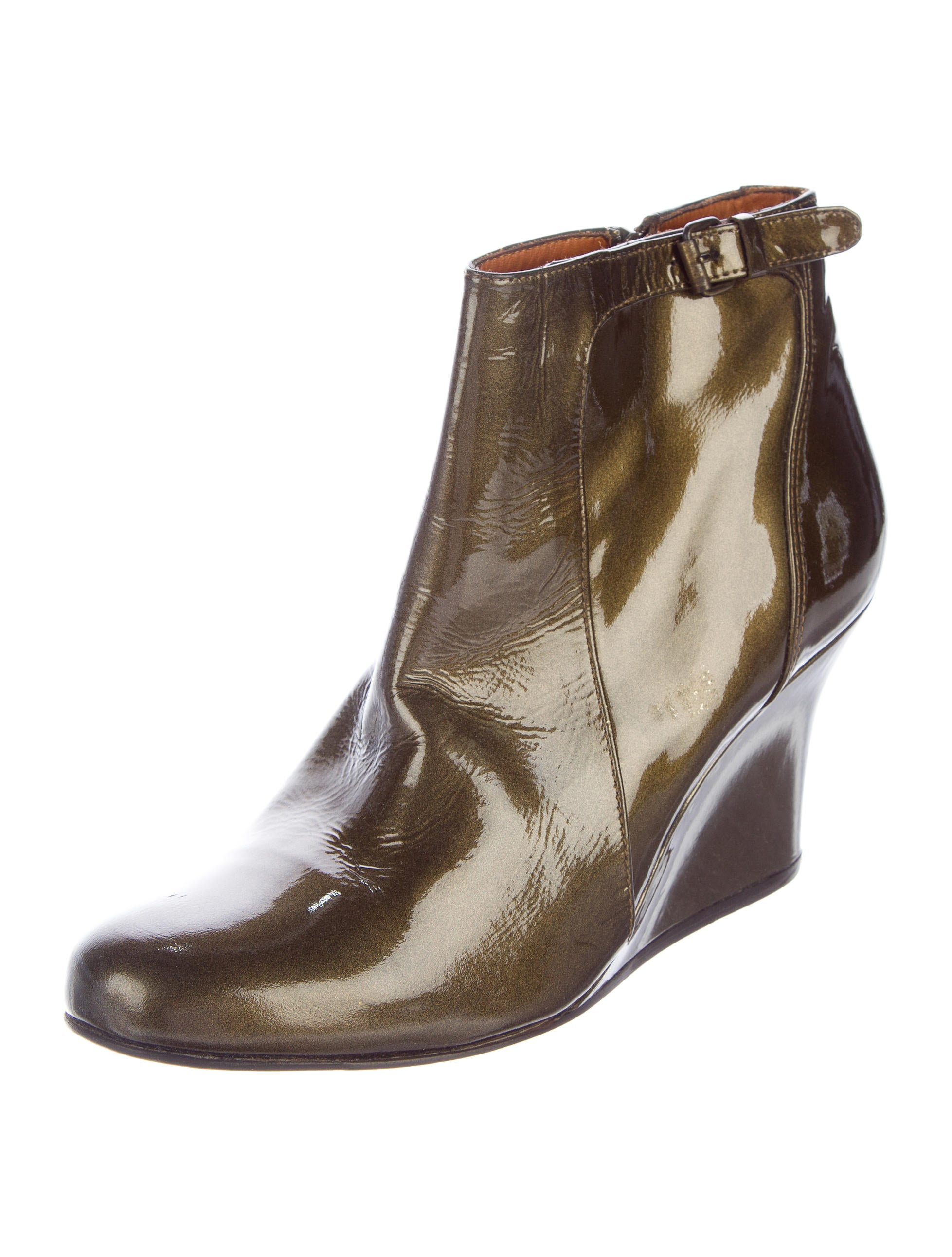 lanvin patent leather wedge booties shoes lan63667
