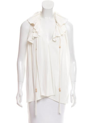 Lanvin Keyhole-Accented Ruffle-Trimmed Top None