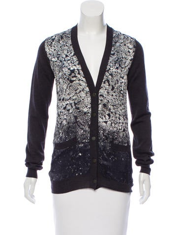 Lanvin Printed Wool & Silk Cardigan None