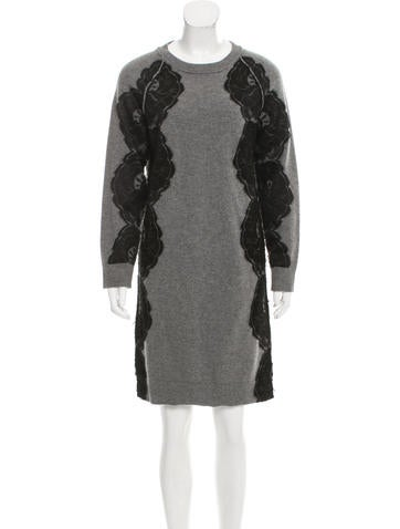 Lanvin Lace-Accented Wool & Angora Dress None