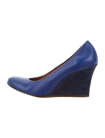 Lanvin Leather Round-Toe Wedges None