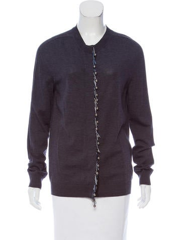 Lanvin Knit Embellished Cardigan None