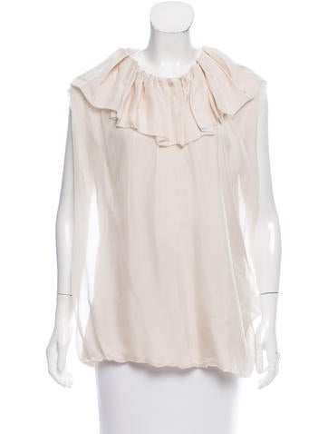 Lanvin Ruffle-Accented Sleeveless Top None