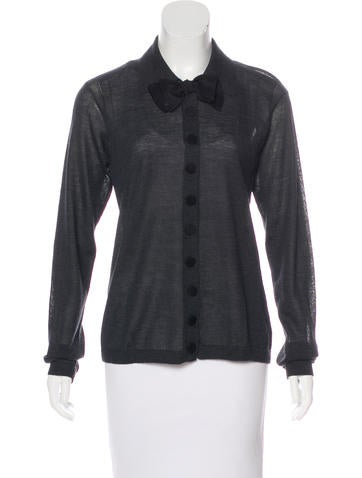 Lanvin Alpaca & Silk Long Sleeve Cardigan w/ Tags None