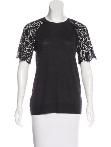 Lanvin Lace-Accented Wool Top None