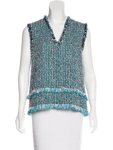 Lanvin Tweed V-Neck Top w/ Tags None