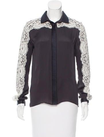 Lanvin Lace-Trimmed Silk Top None