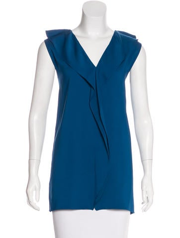 Lanvin Ruffle-Accented Sleeveless Top w/ Tags None