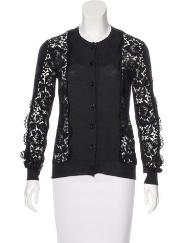 Lanvin Lace-Accented Knit Cardigan None