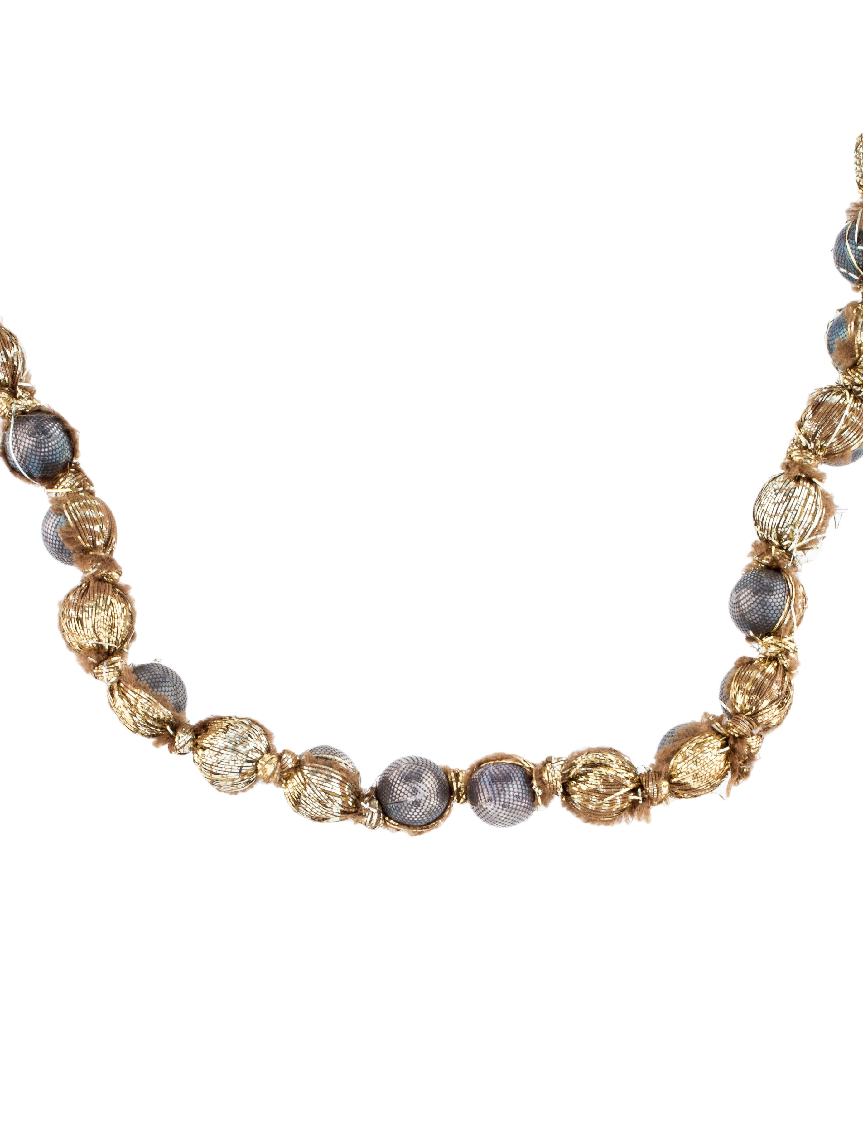Lanvin faux pearl ribbon necklace necklaces lan68896 for Ribbon tie necklace jewelry