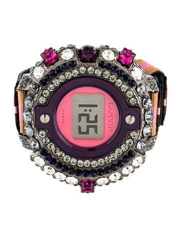 Lanvin Crystal Embellished Watch Style Bracelet None