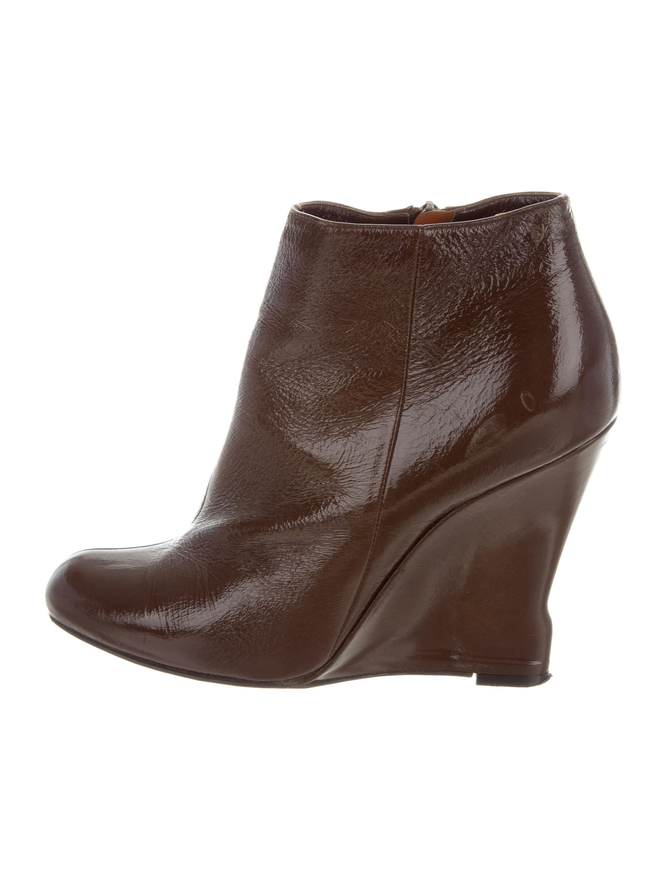Lanvin Patent Leather Wedge Booties sale authentic clearance wide range of free shipping recommend amazing price cheap price discount pay with visa HL3pBiF