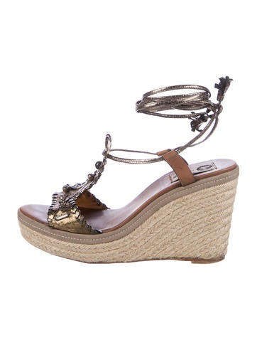 Lanvin Leather Espadrille Wedges None